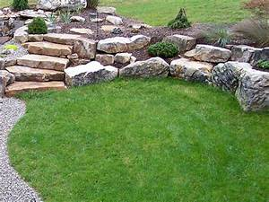 Boulder Retaining Wall Creating Planting Pockets Fieldstone Slab Step Retaining Wall Seat The Advantages Of Landscape Boulders