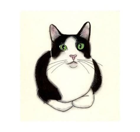 Tuxedo Cat Art Green Eyes 4 X 6 Black And White Cat