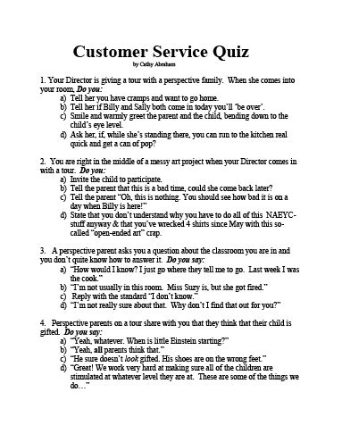 A Customer Service Quiz For Child Care Providers Daycare