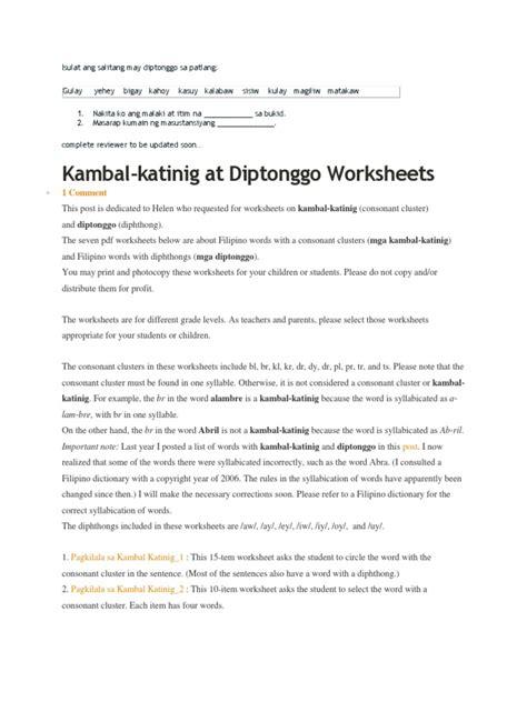diptonggo worksheets for grade 1 worksheet exle