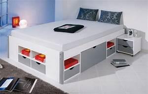 Lit Double Avec Rangement : lit avec rangement une place ~ Teatrodelosmanantiales.com Idées de Décoration