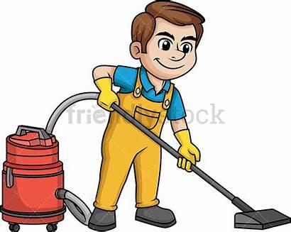 Vacuuming Floor Cartoon Clipart Vector Cleaner Male
