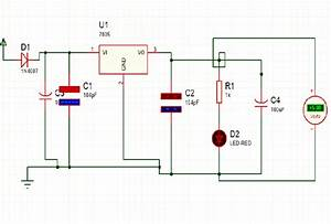 Power Supply Circuit Diagram  D1  D2 Diodes   U1  Voltage