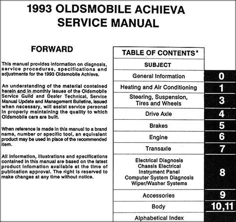 how to download repair manuals 1996 oldsmobile achieva auto manual 1993 oldsmobile achieva repair shop manual original