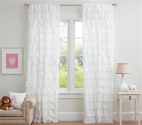 Pottery Barn Curtains 108 by Tiered Ruffle Sheer Panel Pottery Barn