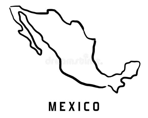 Mexico Map Outline Stock Vector. Illustration Of