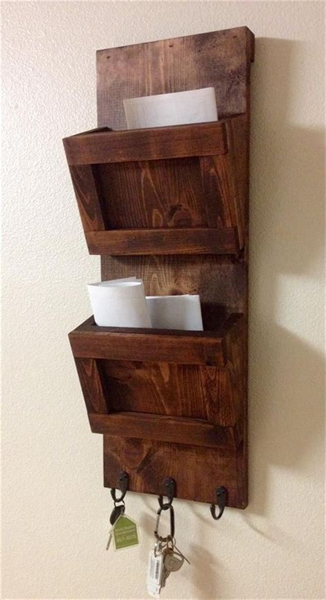 pallet wall mounted organizer mail holder wall mail