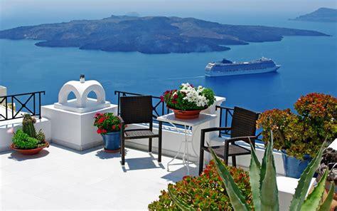 santorin coin grece voyage photo fond decran apercu wallpapercom