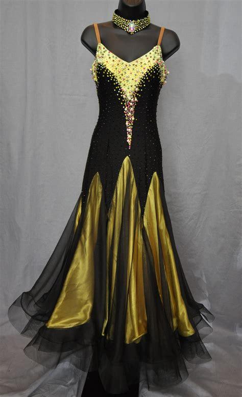 black yellow pearl ballroom dress