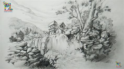 draw  landscape  waterfall  pencil
