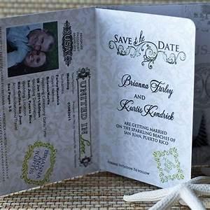 Passport wedding invitation design fee monogram flourish for Save the date passport template