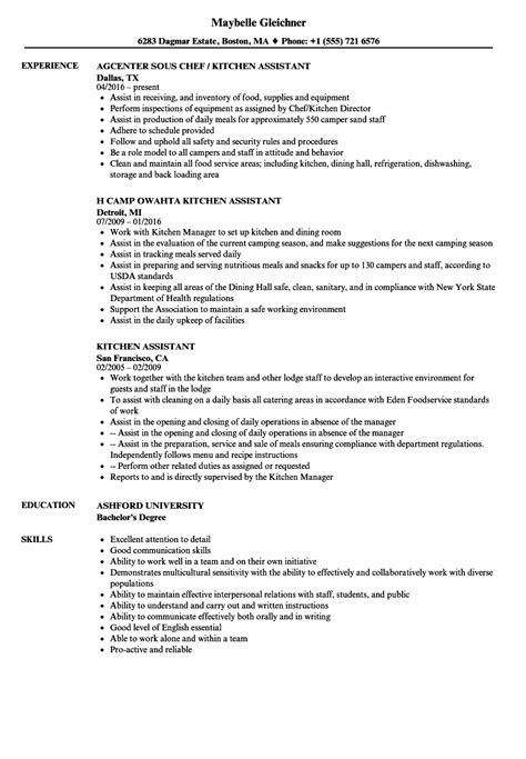 Kitchen Manager Skills Resume by Kitchen Assistant Resume Sles Velvet