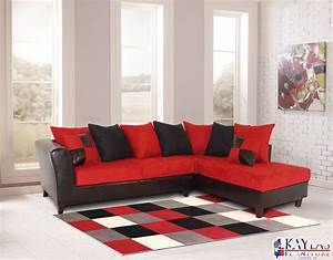 red black sectional sofa red fabric black vinyl modern With sectional sofas red and black