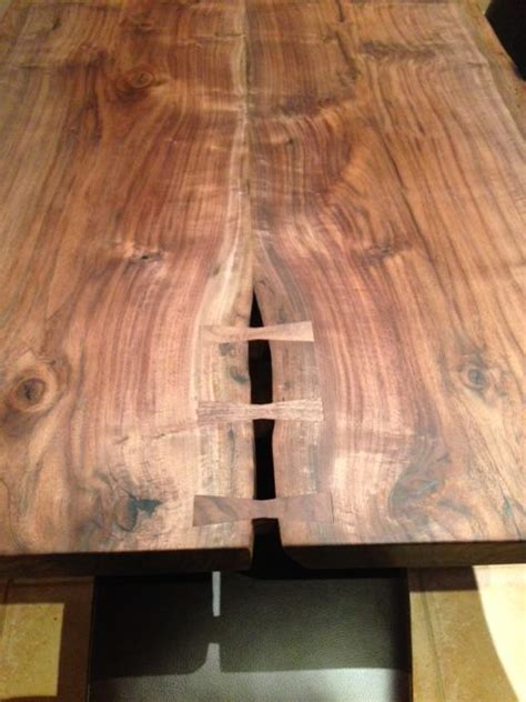 book matched  edge walnut kitchen table  inlaid