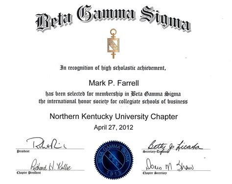 beta gamma sigma international honor society p