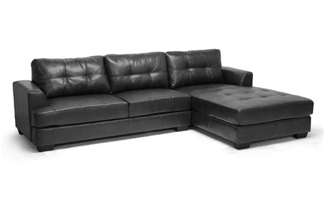 Sears Black Sectional Sofa by Baxton Studio Dobson Black Leather Modern Sectional Sofa