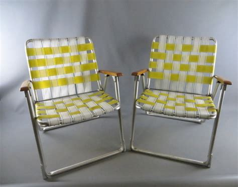 Webbed Lawn Chairs With Wooden Arms by Pair Of Vtg Aluminum Webbed Folding Lawn Chairs Wooden Arm