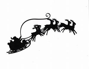 Silhouette clipart santa - Pencil and in color silhouette ...