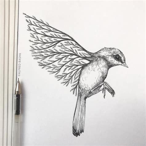 New Pen Ink Depictions Trees Sprouting Into Animals