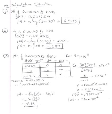 Chemistry Ph And Poh Calculations Worksheet Worksheets For All  Download And Share Worksheets