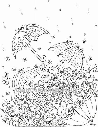 Coloring Pages Adult Flowers April Showers Spring