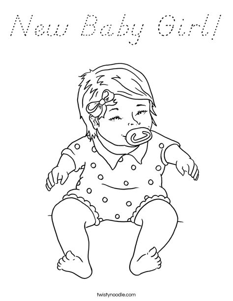 New Baby Girl Coloring Page D'Nealian Twisty Noodle