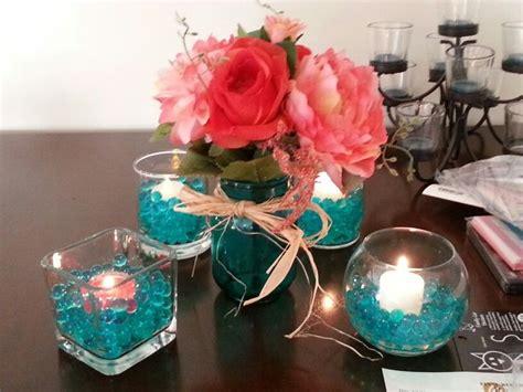 Teal And Coral Centerpiece Idea Wedding Ideas
