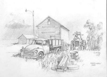 real sketched drawings  truck  harry  kays farm pencil sketch drawings pinterest