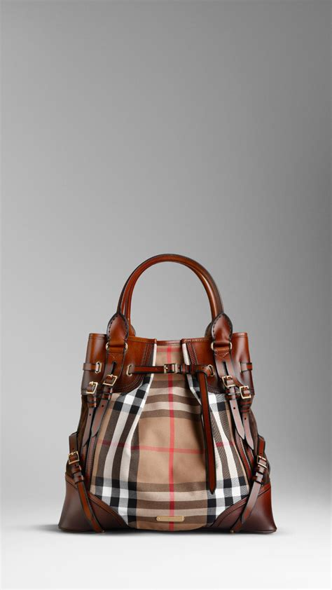 burberry large bridle house check whipstitch tote bag  brown lyst