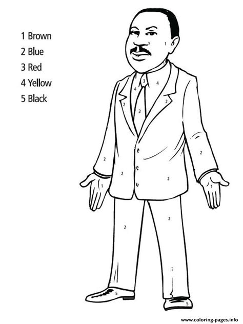 martin luther king day color  number coloring pages