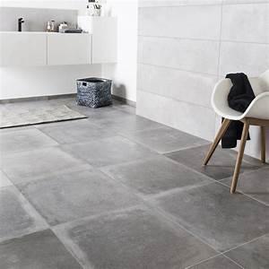 carrelage sol et mur gris cendre effet beton harlem l60 x With carrelage sol et mur