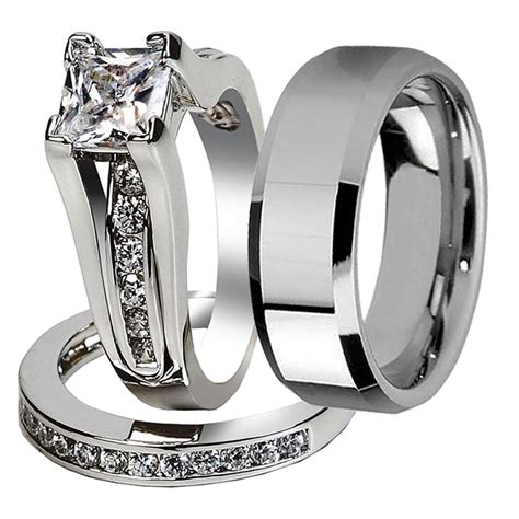 wedding rings bands 3 pcs his stainless steel wedding 1017