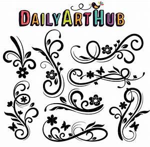 Floral, Swirls, Clip, Art, Set, U2013, Daily, Art, Hub, U2013, Free, Clip, Art