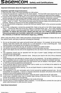Sagemcom Broands Fast5250 Router User Manual