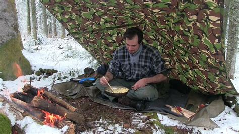 Bushcraft Day In The Forest With A Bit Of Snow And Tasty