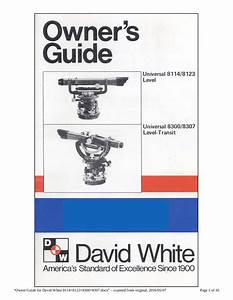 Owner Guide For David White 8114 8123 8300 8307 By User