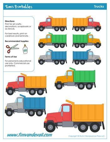 printable truck templates  kids