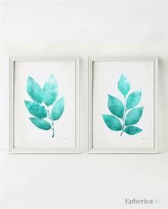 wall art set of 2 prints teal home decor wall art printable With teal wall decor