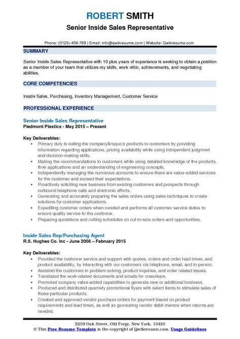 Inside Sales Resume by Inside Sales Rep Resume Sles Qwikresume