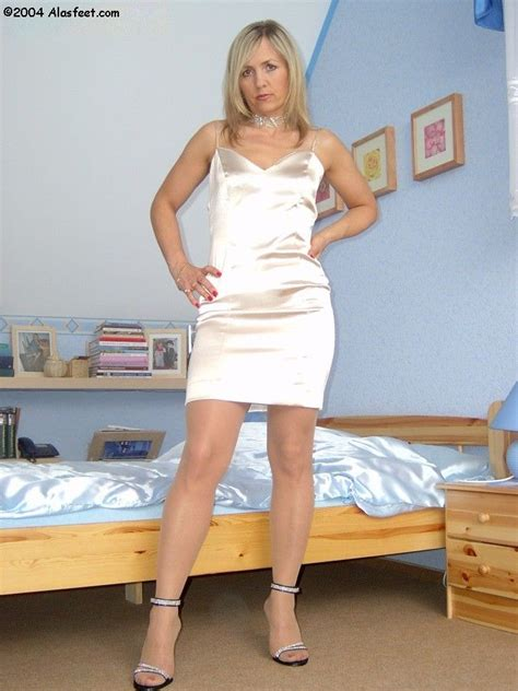 Ala Nylons ♥ Satin Blouses White Stockings White Dress