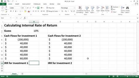 calculating internal rate  return irr