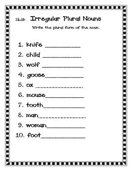 irregular plural nouns 2nd grade common core by heather