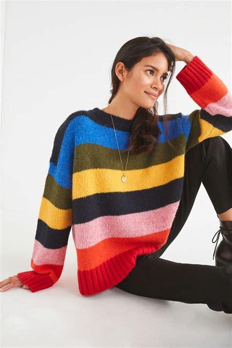 UO Kari Rainbow Striped Oversized Sweater | Urban Outfitters
