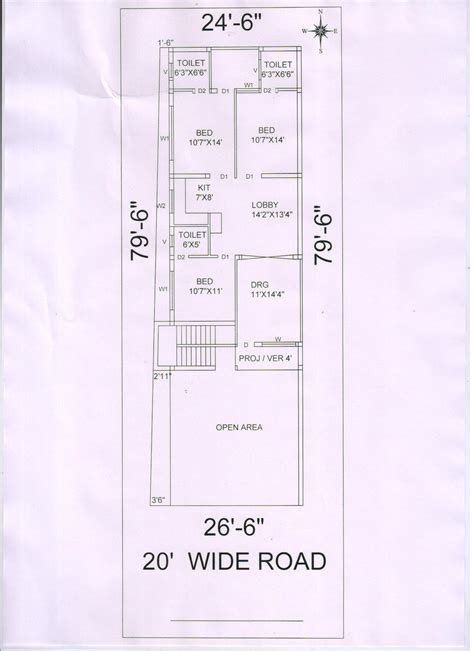 floor plans for 20x60 house front elevation