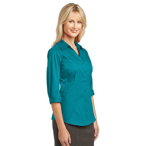 teal blouses port authority l6290 3 4 sleeve blouse teal green