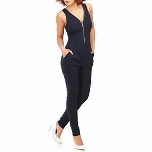 Combinaison Pantalon Femme Bleu Marine : combinaison pantalon bleu marine dentelle au dos femme pas cher la modeuse ~ Dallasstarsshop.com Idées de Décoration