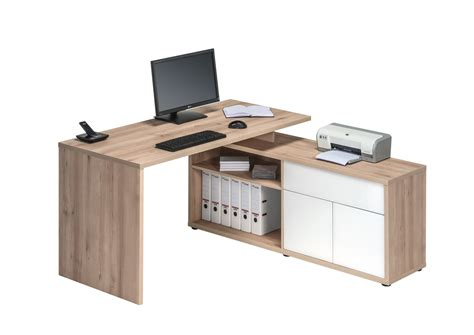 bureau but bureau d 39 angle contemporain coloris hêtre blanc brillant
