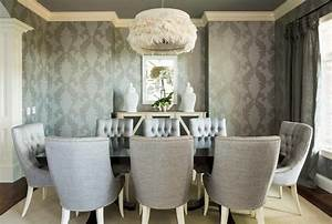 Modern Dining Room With Textured Wallpaper Awesome