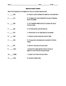 byzantine empire timeline matching worksheet by social