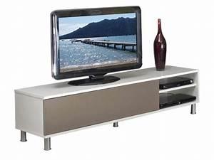 Meuble De Télé Conforama : meuble tv dany coloris blanc taupe conforama pickture ~ Teatrodelosmanantiales.com Idées de Décoration